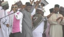 President Jonathan dances at political rally in Kano day of abduction