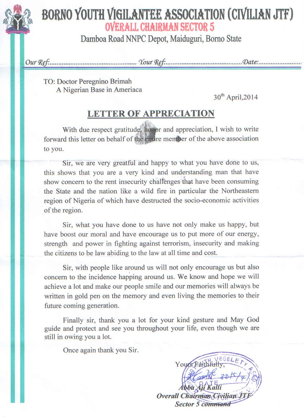 borno youth vigilantes formally thank ends  dr  brimah for support in war against terror  u2013 every