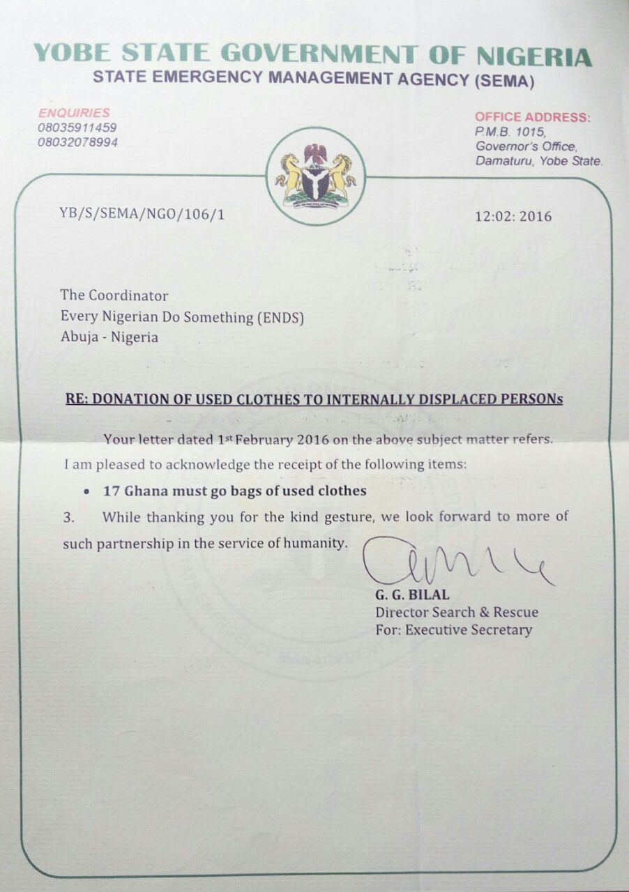 Appreciation Letter From Yobe Government For Receipt Of Donated Clothes